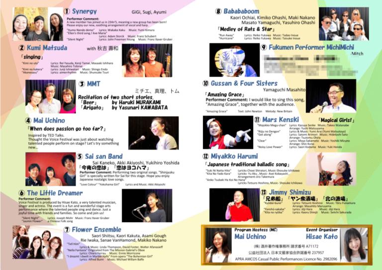 第8回ボイスフェスティバル-Sydney プログラム